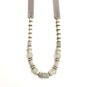 NEW TWINE & TWIG LONG classic Necklace/Tones, Mist